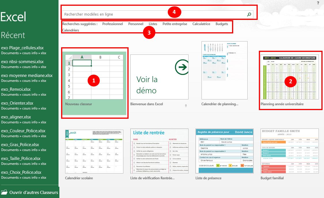 coursinfo.fr - ouvrir un modèle de document Excel