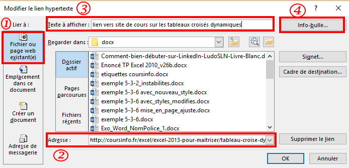 Inserer Un Lien Internet Dans Un Document Word Coursinfo Fr